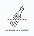 message in a bottle flat line icon outline vector image vector image