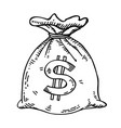 money bag hand drawn vector image vector image