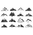 mountain icons mountains top silhouette shapes vector image
