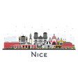 nice france city skyline with color buildings vector image vector image