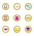 online book icons set cartoon style vector image
