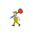 Plumber Carrying Plunger Walking Isolated Cartoon vector image vector image