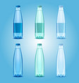 realistic plastic drinking water bottles vector image vector image