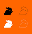 rooster head black and white set icon vector image vector image