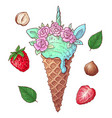 set ice cream strawberry nuts vector image