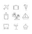 set of travel holiday icons vector image vector image