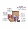 shopping infographic gifts and shopping bag vector image
