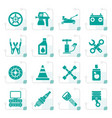 stylized transportation and car repair icons vector image