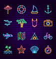 summer travel neon icons vector image vector image