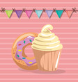 sweet and delicious cupcake with donut birthday vector image vector image