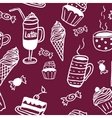 Sweet seamless pattern with drinks and sweets vector image vector image