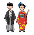 traditional clothes of japan vector image vector image