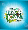 tropical summer holiday design with toucan bird vector image vector image