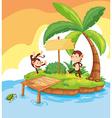 Two monkeys on island vector image vector image