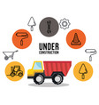 under construction truck tipper vehicle tools icon vector image vector image