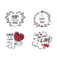 variety love sticker design vector image vector image