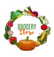 vegetables vegetarian food market grocery store vector image vector image