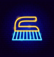 washing brush neon label vector image vector image