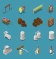 wine production isometric icons set vector image
