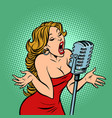 woman singer at microphone music concert vector image vector image