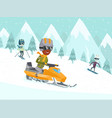 young african-american man driving snowmobile vector image vector image
