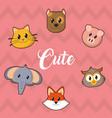 icon set cartoons design vector image