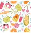 cute food seamless pattern vector image