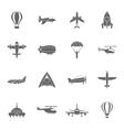 aircraft icons set black vector image