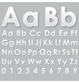 Alphabet pseudo 3d letters on a gray vector image