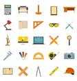 architect equipment icons set flat style