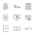 Bank and money icons set outline style vector image vector image