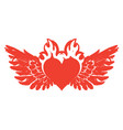 banner with red flying heart with wings on fire vector image