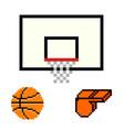 basketball pixel art cartoon retro game style vector image