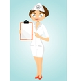 beautiful confident nurse with clipboard vector image vector image