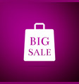 big sale bag icon isolated on purple background vector image vector image