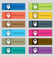Brain icon sign Set of twelve rectangular colorful vector image