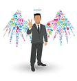 Businessman Angel Wings social network vector image