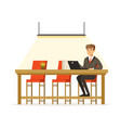 businessman working with laptop in the open space vector image vector image