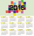 calendar 2016 in colorful vector image