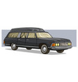cartoon black old long classic funeral hearse car vector image vector image