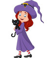 cartoon little witch holding black cat vector image vector image