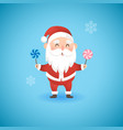 christmas funny santa claus holding lollipops vector image vector image