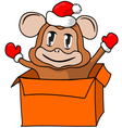 Christmas gift with a monkey vector image vector image