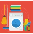 Cleaning items and washing machine vector image vector image