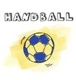 Doodle handball on watercolor background vector image