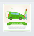 ecological lifestyle concept with man showing vector image