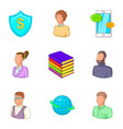 financial insurance icons set cartoon style vector image vector image
