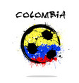 flag of colombia as an abstract soccer ball vector image vector image