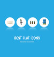 flat icon garden set of container flowerpot pump vector image
