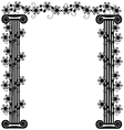 frame with columns and flowers vector image